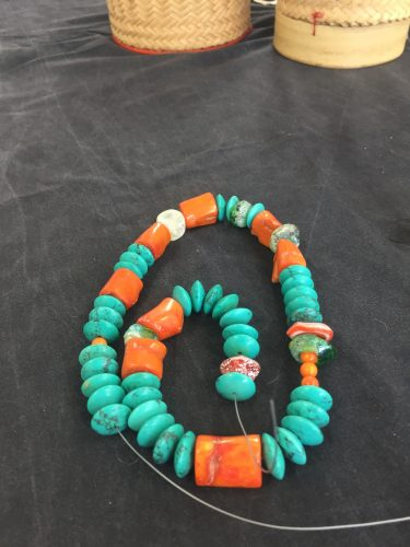 coral, turquoise and emubeads